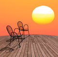 Chairs on the sunset Stock Image