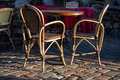 Chairs and table in outdor cafe two Royalty Free Stock Photo