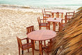 Chairs and tables on beach Royalty Free Stock Images