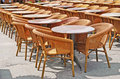 Chairs and tables in row Stock Photography