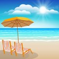 Chairs umbrella sand and sea seascape illustration paradise beach Stock Photography