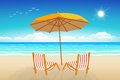 Chairs umbrella sand and sea seascape illustration paradise beach Stock Images