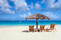 Chairs and umbrella on tropical beach a beautiful at anguilla caribbean Royalty Free Stock Image