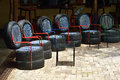Chairs from used car tires Royalty Free Stock Photo