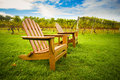Chairs at vineyard adirondack style chair on lawn of Royalty Free Stock Image
