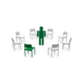 Chairs in white and green Stock Images
