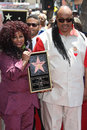 Chaka khan stevie wonder with at honored with a star on the hollywood walk of fame hollywood ca Royalty Free Stock Photo