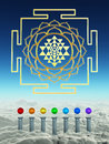 Chakra spheres and sacred shree yantra d rendering of above the clouds Royalty Free Stock Photo