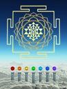 Chakra Spheres And Sacred Shree Yantra Royalty Free Stock Photo