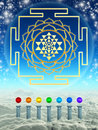 Chakra spheres and sri yantra illustration of Royalty Free Stock Photography
