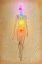 Chakras au dessus d un corps humain Image stock