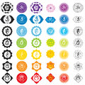 Chakras icons . Concept of chakras used in Hinduism, Buddhism and Ayurveda. For design, associated with yoga and India.