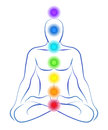 Chakras illustration of a meditating person in yoga position with the seven main Stock Image