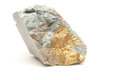 Chalcopyrite mineral sample with gold and copper with pyrite Stock Photos