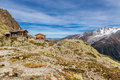 Chalet le refuge du lac blanc france view of mountain and mountain range mont area Stock Photos