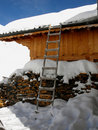Chalet of mountain with ladder. Stock Images