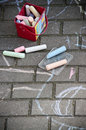 Chalk art on sidewalk the sett stones of a Royalty Free Stock Photos