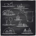 Chalk banquet food symbols on a chalkboard eps Stock Images