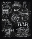 Chalk beer vector on chalkboard background Stock Image