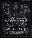 Chalk beer vector on chalkboard background Royalty Free Stock Photography