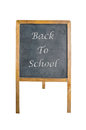 An chalk board with back to school word on white background Royalty Free Stock Photos