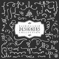 Chalk decorative curls and swirls. Designers collection. Royalty Free Stock Photo