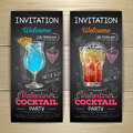Chalk drawing cocktail valentine party poster Royalty Free Stock Photo