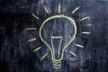 Chalk drawing of light bulb on blackboard bright idea Royalty Free Stock Photos