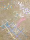 Chalk drawing on sidewalk Royalty Free Stock Photo