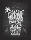 Chalk drawing typography cocktail menu design Royalty Free Stock Photo