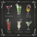 Chalk drawings cocktail menu coloful Royalty Free Stock Photography