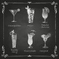 Chalk drawings cocktail menu decoration Royalty Free Stock Photography