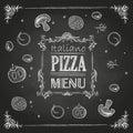 Chalk drawings pizza menu decoration Royalty Free Stock Photo