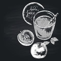 Chalk drawn illustration of full glass with apple juice. Healthy nutrition. Copy space