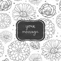 Chalk flowers blackboard frame seamless pattern vector background line art floral elements Royalty Free Stock Image
