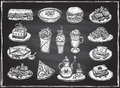 Chalk graphic illustration of assorted food, desserts and drinks, hand drawn vector symbols set