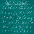 Chalk letters of english alphabet on school board Royalty Free Stock Images