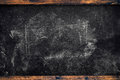 Chalk marks on dirty school blackboard with wooden frame Royalty Free Stock Photo