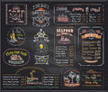 Chalk menu list blackboard designs set for cafe or restaurant Royalty Free Stock Photo