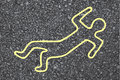 Chalk outline dead body street Stock Photo