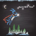 Chalk painted colored illustration with flying goat christmas trees bright stars moon and text happy new year theme card design Royalty Free Stock Image