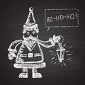 Chalk painted illustration of santa with lamp and ho ho ho text happy new year theme card design Stock Images