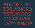 Chalk sketched striped alphabet abc vector font