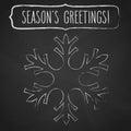 Chalk Snowflake and Season's greetings Royalty Free Stock Photo