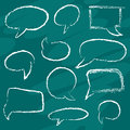 Chalk speech bubble set school board Stock Photos