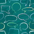 Chalk speech bubbles seamless from color on scholl board Royalty Free Stock Photos