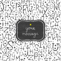 Chalkboard alphabet letters frame seamless pattern vector background Stock Photography