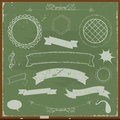 Chalkboard banners and design elements illustration of a set of grunge ribbons on background Stock Photo