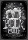 Chalkboard beer party poster Royalty Free Stock Photo