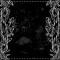 Chalkboard border floral frame on the black and white Stock Photography